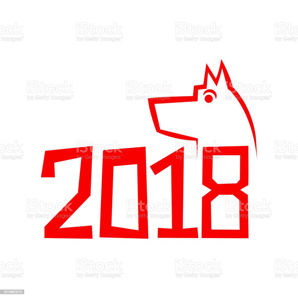 Year Of The Dog Chinese Zodiac Symbol Of 2018 Dog Year Stock Vector