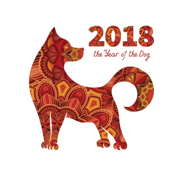 2018 year of the dog - chinese new year stock illustrations, clip art, cartoons, & icons