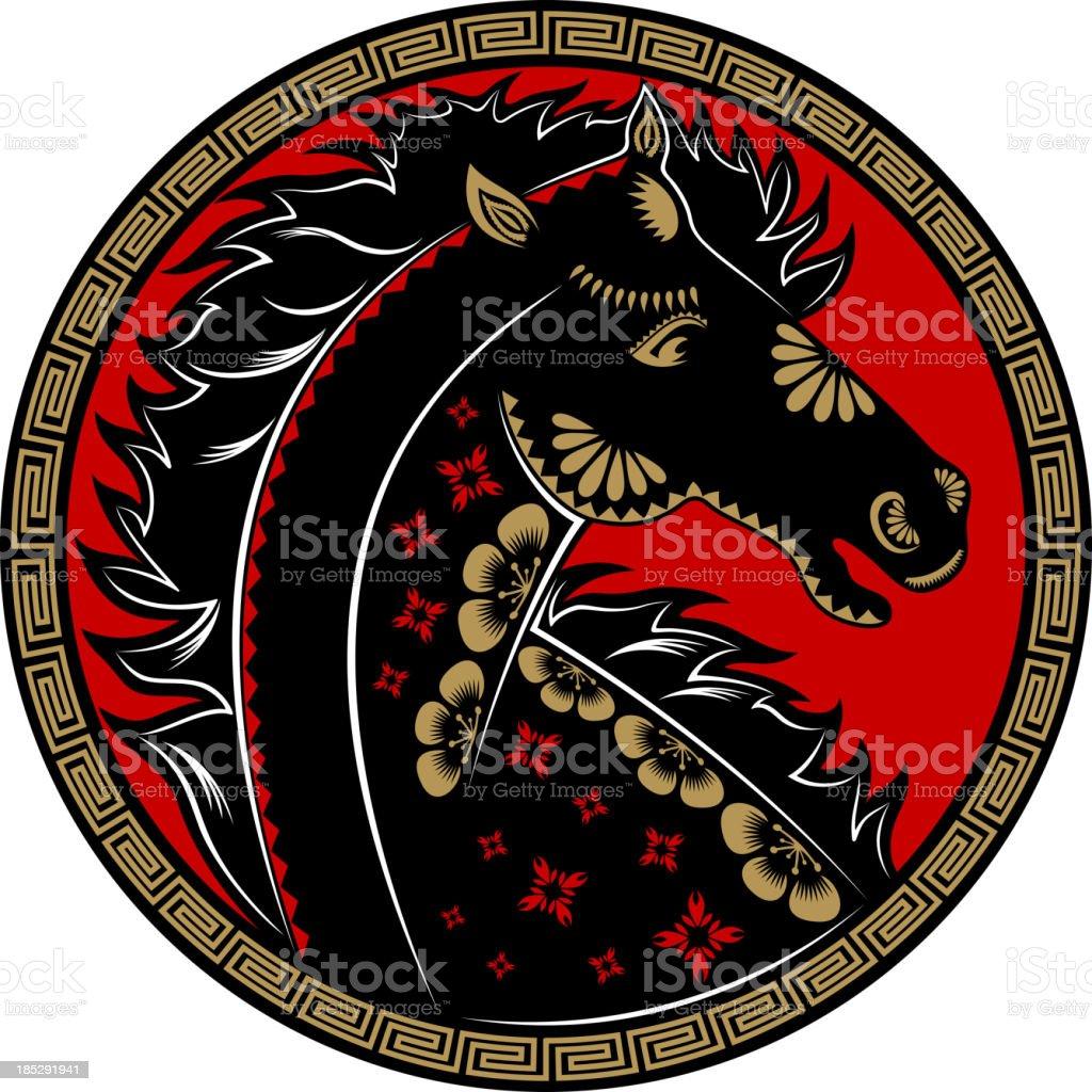 Year of the Horse Paper-cut Art Symbol royalty-free stock vector art