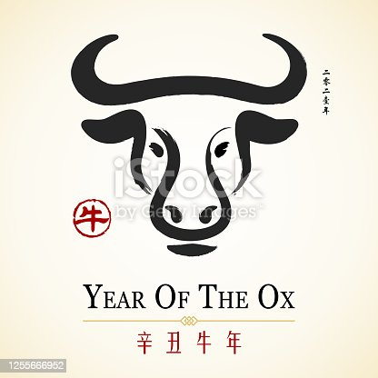 Celebrate the Year of the Ox 2021 with ox Chinese painting and red Chinese stamp, the horizontal Chinese phrase means year of the ox according to lunar calendar and the vertical Chinese phrase means 2021