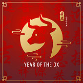 Celebrate the Year of the Ox 2021 with gold foil stamping of ox head icon on the red Chinese language background, the vertical Chinese stamp means year of the ox according to lunar calendar, and the vertical Chinese phrases means year of 2021