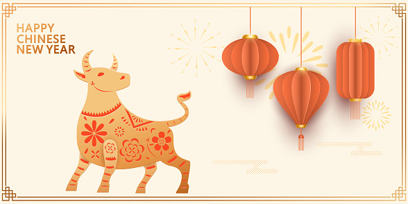Year of the Ox, paper cut style of ox and red origami lanterns, Chinese New Year poster banner design illustration