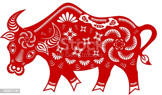 Chinese style paper cut for year of the ox