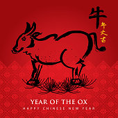 A vector illustration to show ox in a red Chinese backgrounds