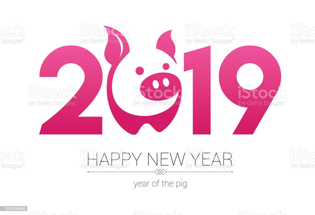 Year of the Pig 2019, Happy New Year, Pig papercut vector art illustration