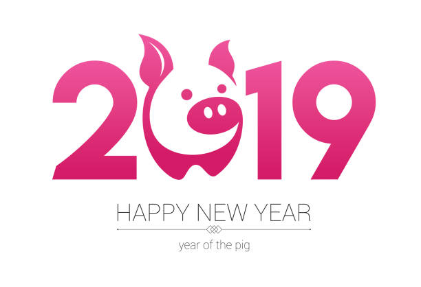 year of the pig 2019, happy new year, pig papercut - year of the pig stock illustrations, clip art, cartoons, & icons