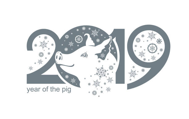 year of the pig 2019. - year of the pig stock illustrations, clip art, cartoons, & icons