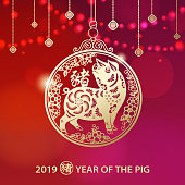 To Celebrate Chinese New Year with gold colored pig pendant and decorations for the Year of the Pig 2019 on sparkle lights background, the Chinese word means pig