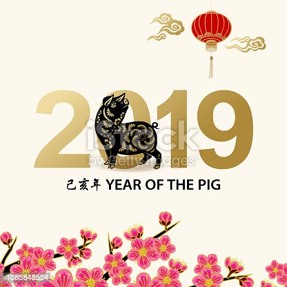 Greeting for the Chinese New Year of the Pig 2019 with paper art pig on background of lanterns and peach blossom, the Chinese phrase means Year of the Pig