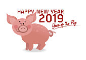 Vector Illustration with a cute animal representing the Year of the Pig Happy new year 2019