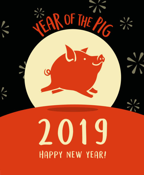 2019 year of the pig, happy new year design with cute flying pig. - year of the pig stock illustrations, clip art, cartoons, & icons