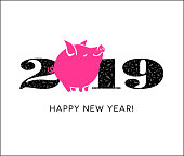 2019 year of the pig happy new year greeting card, poster, banner design with cute little pig standing in for the zero. Modern minimal vector design.