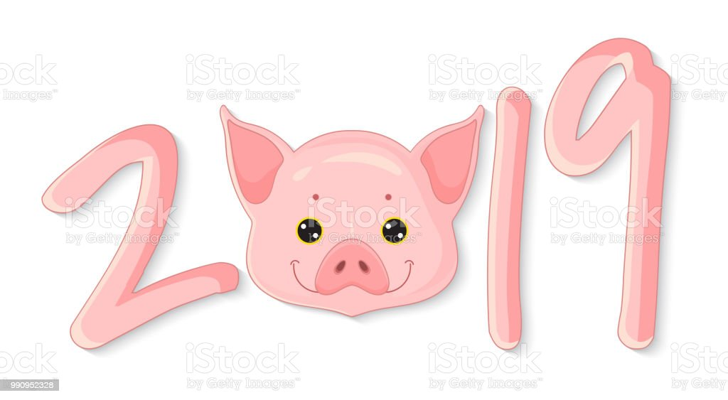 2019 year of the pig happy new year greeting card print design