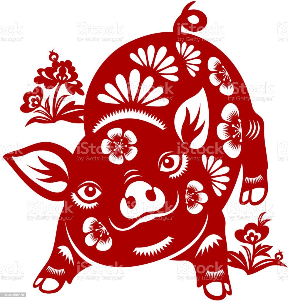 Year of the Pig Papercut vector art illustration