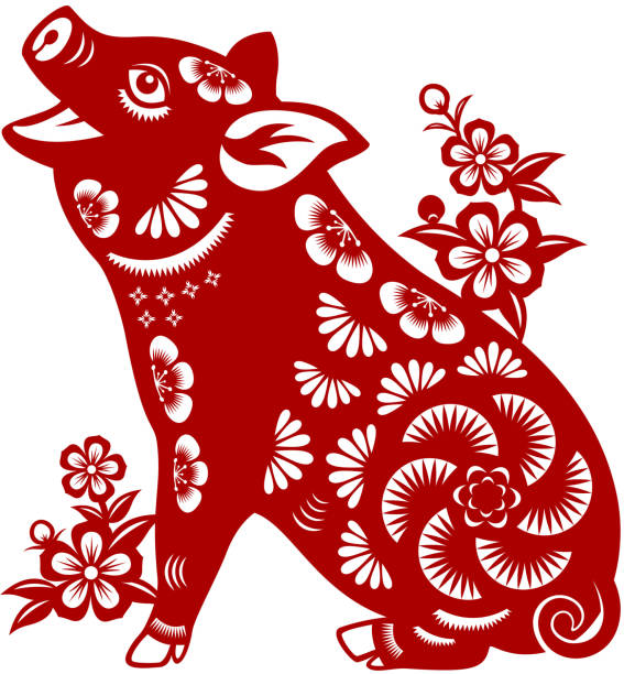 year of the pig papercut - year of the pig stock illustrations, clip art, cartoons, & icons