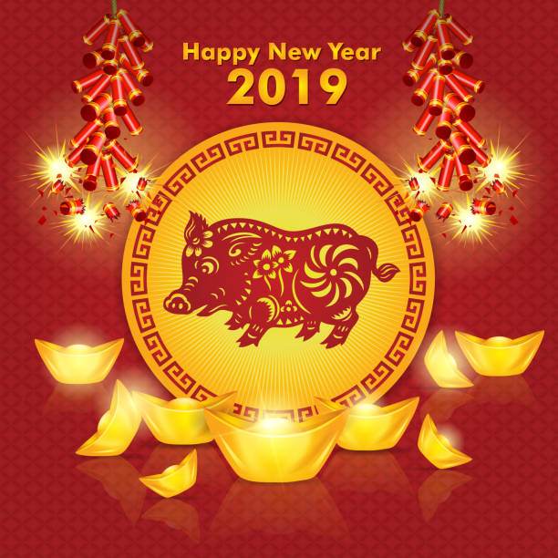 Year of the Pig, Pig paper-cut, 2019, Happy New Year, Chinese New Year vector art illustration