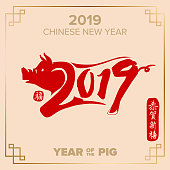 Year of the pig. Pig - symbol 2019 New Year. 2019 Zodiac Pig, Chinese wording translation: Happy chinese new year of pig 2019