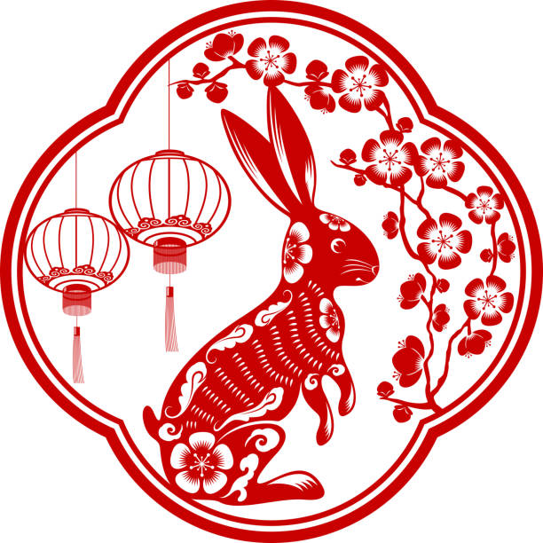 Year of the Rabbit Chinese style of papercut art for year of the rabbit peach blossom stock illustrations