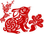 Chinese style of papercut art for year of the rabbit