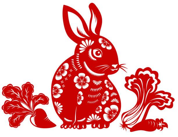 год кролика - chinese new year stock illustrations