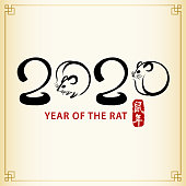 Celebrate the Year of the Rat with Chinese calligraphy and rats in brush drawing, and the rat is the Chinese Zodiac sign for the Chinese New Year 2020