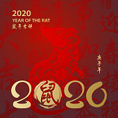 Celebrate the Year of the Rat with gold colored Chinese calligraphy in brush drawing, and the rat is the Chinese Zodiac sign for the Chinese New Year 2020, the vertical phrase means year of the rat according to Chinese calendar