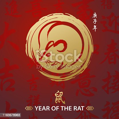 Celebrate the Year of the Rat 2020 with gold colored Chinese painting and calligraphy on the red Chinese language background, the Chinese character means rat and the vertical Chinese phrase means Year of the Rat