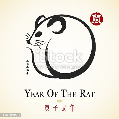 Celebrate the Year of the Rat 2020 with rat Chinese painting and red Chinese stamp, the horizontal Chinese phrase means year of the rat according to lunar calendar and the vertical Chinese phrase means 2020