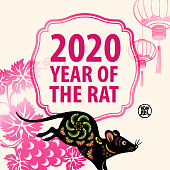 Celebrate the Year of the Rat 2020 with Chinese lanterns, grape, frame and paper cutting rat, the Chinese stamp means rat