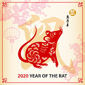 Chinese style paintings of Year of the Rat 2020.