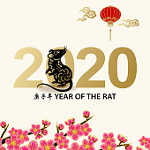 Greeting for the Chinese New Year of the Rat 2020 with paper art rat on background of lanterns and peach blossom, the Chinese phrase means Year of the Rat