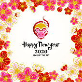 Chinese New Year 2020 Year of the rat paint brush rat graphic inside the peach blossom frame.