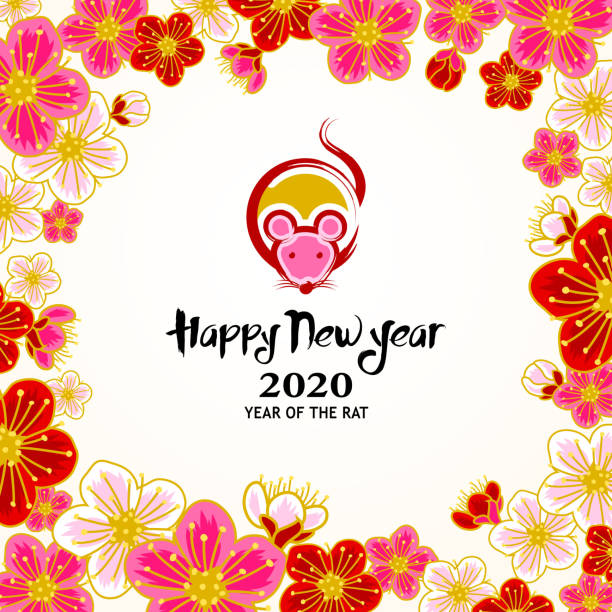 Year of the Rat in Peach Blossom Frame Chinese New Year 2020 Year of the rat paint brush rat graphic inside the peach blossom frame. peach blossom stock illustrations