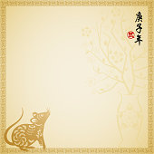 Chinese style copy space notice for Year of the Rat.