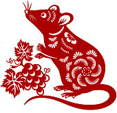 Celebrate the Year of the Rat with the red colored paper cut, and the rat is the Chinese Zodiac sign for the Chinese New Year 2020