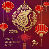 Celebrate the Chinese New Year in the year of the Rat 2020 with decoration of lanterns, lucky pendant, cloud, and rat on the red background, the Chinese phrase means best wishes for the year of the rat to come!