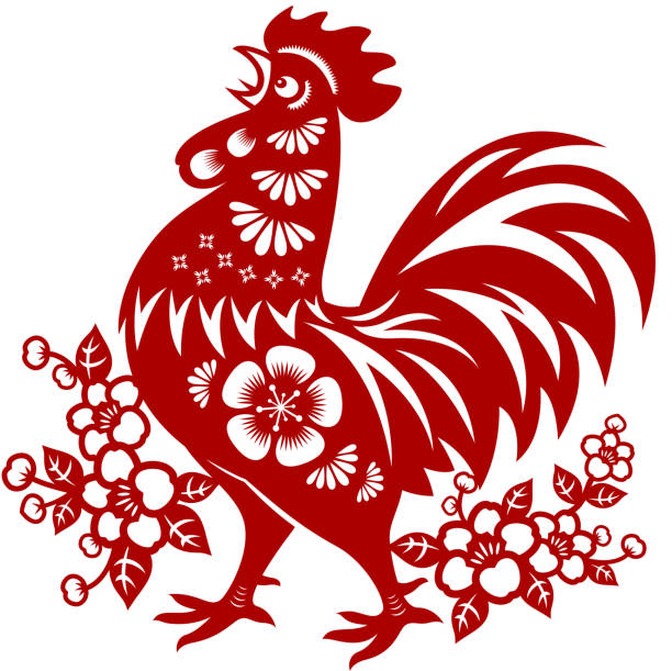 Year of the Rooster Papercut Traditional papercut rooster art of Year of the Rooster. rooster stock illustrations