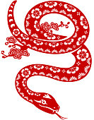 Year of the Snake paper-cut art. EPS10.