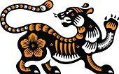 According to the Chinese Zodiac, the Year of 2010 is the Year of the Tiger. Vector illustration.