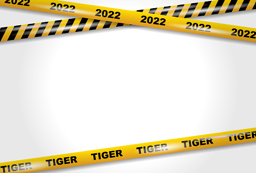 Year of the Tiger 2022. Caution tape. Vector illustration.