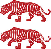 2 x Chinese style of paper cut for year of the tiger
