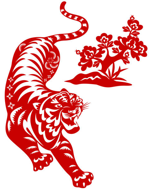 Year of The Tiger Paper-cut Art Chinese style of paper cut for year of the tiger tiger stock illustrations