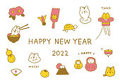 istock 2022 Year of the Tiger Simple and cute illustration of a tiger 1314043676
