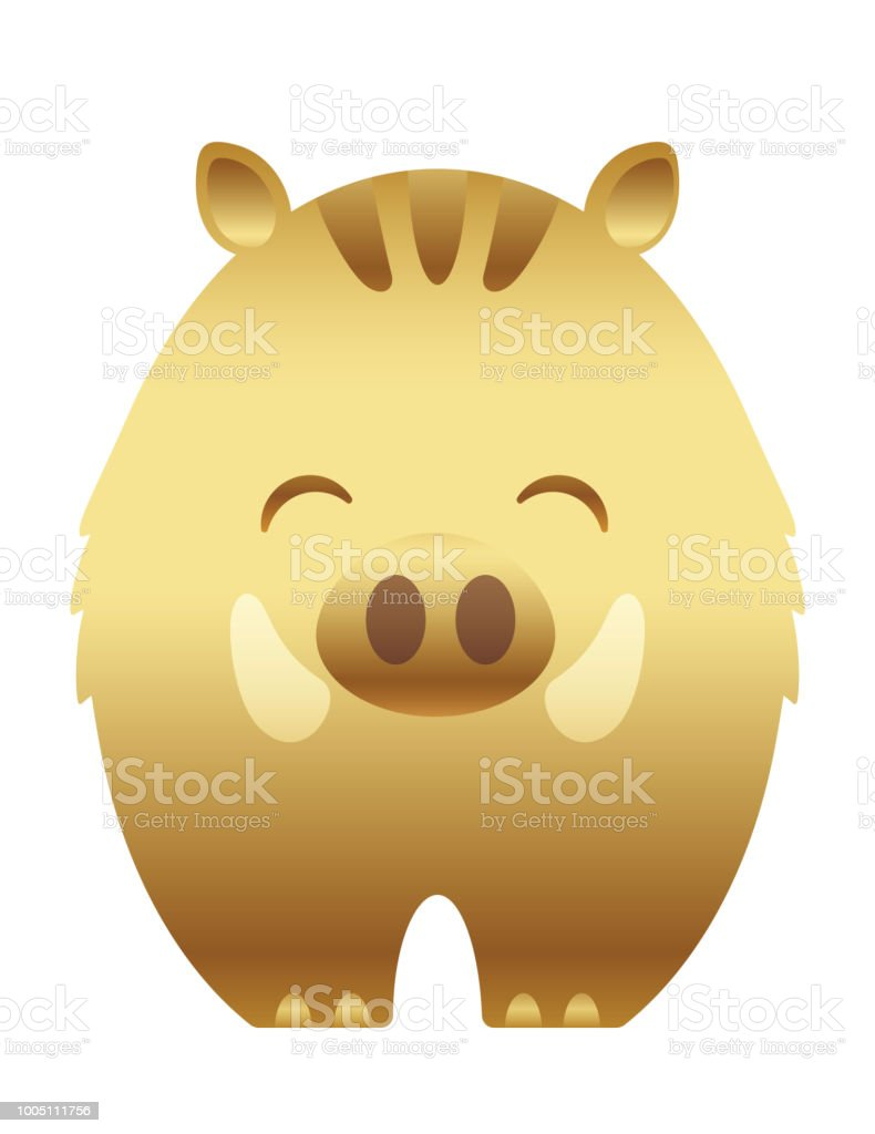 Year of the wild boar gold icon for new years greeting cards stock year of the wild boar gold icon for new years greeting cards royalty free m4hsunfo