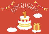 1 year old birthday card illustration