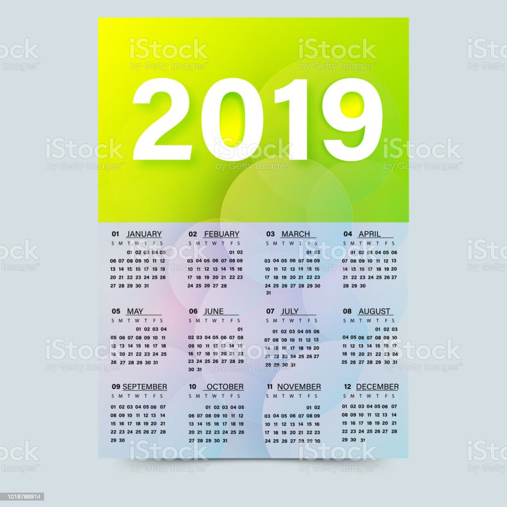 Year Planner 2019 Or Wall Calendar With Abstract Elements Stock