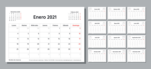 2021 year planner. Spanish calendar template. Vector illustration. Table schedule grid.