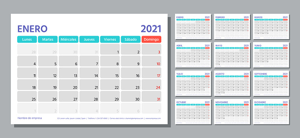 2021 year planner. Spanish calendar template. Vector illustration. Week starts Monday.