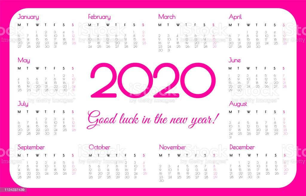 Calendario Rosa 2020.2020 Year Pocket Calendar Pink Color Simple Design Week