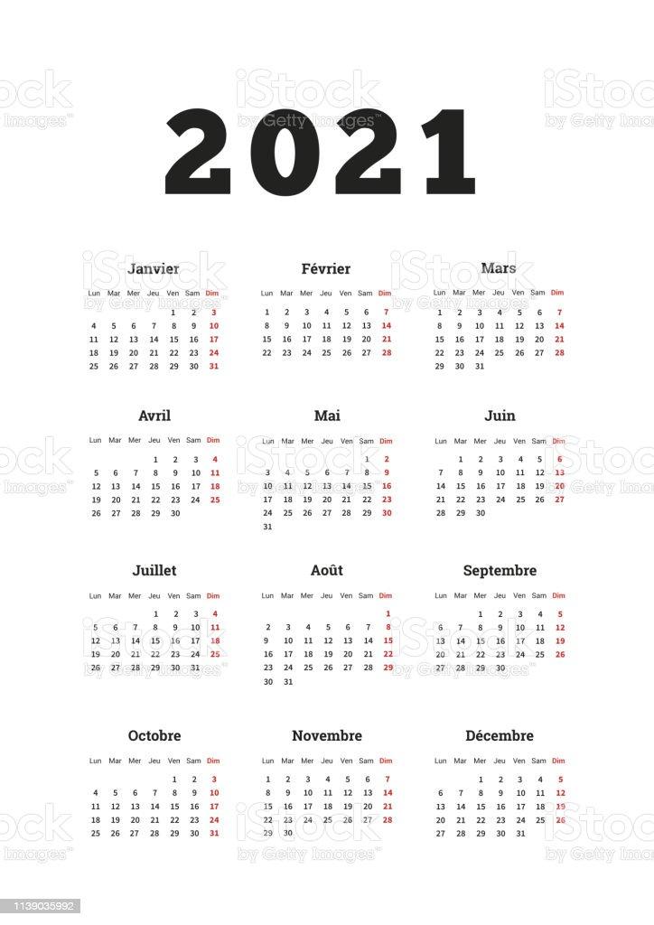 2021 Calendrier Simple De Lannée Sur Français Langue Feuille
